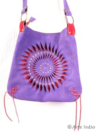Handtasche Sonne, Veloursleder, flieder/rot