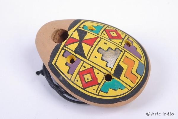 Ocarina Oval ca. 3 x 4,5 cm. Pisaq Gelb