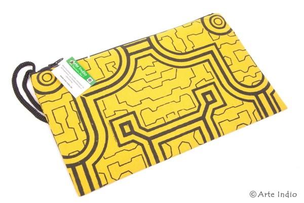 Federmappe mit Shipibo-Muster, gelb