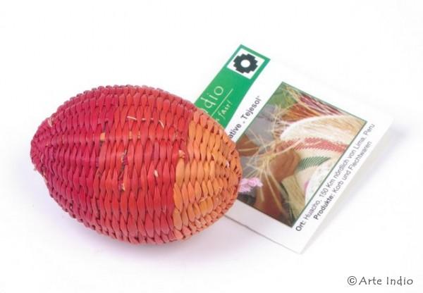 Ei aus Binsen. Rot/Rot