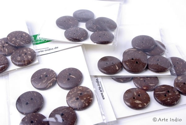 Cocos buttons, 2.5 cm, 6-pack