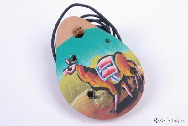 Ocarina Oval ca. 3 x 4,5 cm. Pisaq Lama/Grün