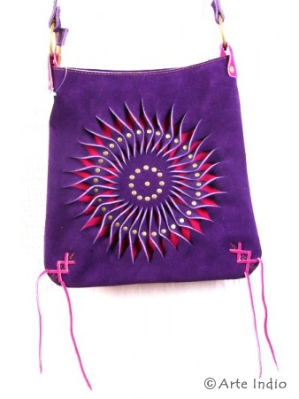 Handtasche Sonne, Veloursleder, lila/cyclamrot