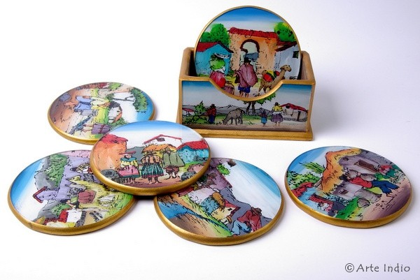 Coasters set. Painted glass
