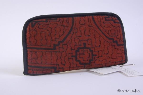 Brillenetui Shipibo-Muster Braun ca. 10 x 18 cm